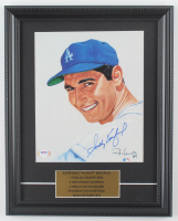 Sandy Koufax Signed Dodgers 12x15 Custom Framed Limited Edition Ron Lewis Art Lithograph Display & Career Stats (PSA LOA) at PristineAuction.com