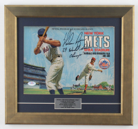 "1969 Official Mets NLCS Program and Scorecard 15"" x 15.5"" Custom Framed Program Display Signed By Nolan Ryan With Career Stats Inscribed ""'69 World Series Champs"" (PSA COA) at PristineAuction.com"