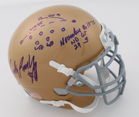 Rudy Ruettiger Signed Notre Dame Fighting Irish Mini Helmet with Multiple Inscriptions & Hand-Drawn Play (Beckett COA) at PristineAuction.com