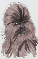 """Tom Hodges - Chewbacca - """"Star Wars"""" - Signed ORIGINAL 5.5"""" x 8.5"""" Drawing on Paper (1/1) at PristineAuction.com"""