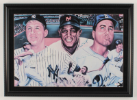 Mickey Mantle, Willie Mays & Duke Snider Signed 17.5x24.5 Custom Framed Photo Display (PSA LOA) at PristineAuction.com