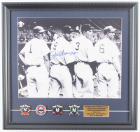 Joe DiMaggio Signed Yankees 17x18 Custom Framed Photo Display with World Series Champions Pins (PSA LOA) at PristineAuction.com