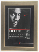 Michael Jordan 12.5x16.5 Custom Framed Vintage Niketown L.A. Ad Display with Vintage Air Jordan Pin at PristineAuction.com