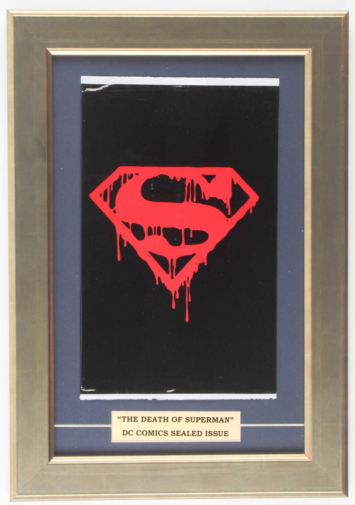 """1992 """"Superman"""" 11.5x16.5 Custom Framed Issue #75 DC Comic Book Black Bag Collector's Set Display at PristineAuction.com"""