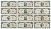 Lot of (12) 1953 $2 Two-Dollar Red Seal U.S. Legal Tender Notes at PristineAuction.com