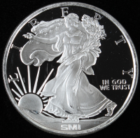 Walking Liberty .999 One Troy Ounce Fine Silver Bullion Round at PristineAuction.com