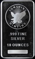 10 Oz. 999 Fine Silver Sunshine Minting Bullion Bar at PristineAuction.com