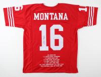 Joe Montana Signed Career Highlight Stat Jersey (JSA COA) at PristineAuction.com