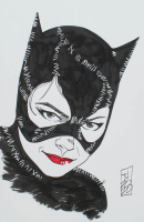 """Tom Hodges - Catwoman - Michelle Pfeiffer - """"Batman"""" - DC Comics - Signed ORIGINAL 5.5"""" x 8.5"""" Drawing on Paper (1/1) at PristineAuction.com"""