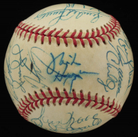 1995 Indians OAL Baseball Signed by (27) With Manny Ramirez, Orel Hershiser, Sandy Alomar Jr., Dave Winfield (JSA ALOA) at PristineAuction.com