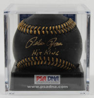 "Pete Rose Signed OML Black Leather Baseball Inscribed ""Hit King"" with Display Case (PSA COA - Graded 9.5) at PristineAuction.com"