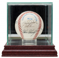 2001 New York Yankees OAL Baseball Team-Signed by (11) With Derek Jeter, Ron Guidry, Don Mattingly, Orlanda Hernandez, David Justice, Clete Boyer With Display Case (JSA LOA) at PristineAuction.com