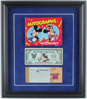 Disneyland 14x16 Custom Framed Display With Vintage Autograph Book, Disney Dollar, & Ticket Book at PristineAuction.com