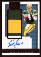 Brett Favre 2019 Panini One Red #62 Jersey Autograph at PristineAuction.com