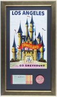 "Disneyland 15.5x26.5 Custom Framed Poster Display with Vintage 1960's Ticket Book & Vintage Vari-Vue ""I Like Disneyland"" Pin at PristineAuction.com"