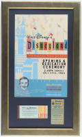 Disneyland 15.5x26.5 Poster Display With Vintage Ticket Book & Vintage .25 Parking Pass at PristineAuction.com