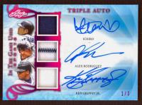 Ichiro / Alex Rodriguez / Ken Griffey Jr. 2019 ITG Used Sports Triple Autograph Memorabilia Magenta Spectrum #TA03 at PristineAuction.com