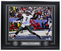 "Michael Vick Signed Eagles 22x27 Custom Framed Photo Display with (2) Eagles Medallions Inscribed ""Miracle At The New Meadowlands"" (PSA COA & Vick Hologram) at PristineAuction.com"
