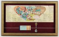 1963 Disneyland Map 16x26 Custom Framed Print Display with Vintage Ticket Book & Vintage Souvenir Spoon at PristineAuction.com