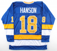 """Dave Hanson, Steve Carlson & Jeff Carlson Signed Jersey Inscribed """"Old Time Hockey"""" (Beckett Hologram) at PristineAuction.com"""