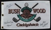 "Michael O'Keefe, John Barmon Jr. & Cindy Morgan Signed ""Caddyshack"" Bushwood Country Club Pin Flag with Inscriptions (JSA COA) at PristineAuction.com"