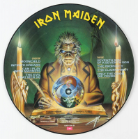 """LE Iron Maiden """"Seventh Son of a Seventh Son"""" Album Poster Insert With Picture Disc Signed by (5) With Bruce Dickinson, Steve Harris, Nicko McBrain, Dave Murray (Beckett LOA) at PristineAuction.com"""