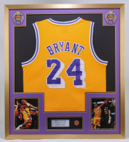Kobe Bryant 32x36 Custom Framed Jersey Display with 2020 Hall of Fame Induction Pin at PristineAuction.com