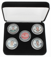 Complete Set of (5) All-Time Leaders NFL Colorized Commemorative State Quarters with Tom Brady, Drew Brees, Brett Favre & Peyton Manning at PristineAuction.com