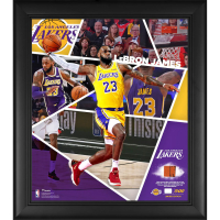 LeBron James LE Lakers 15x17 Custom Framed Photo Display with Game-Used Basketball Piece at PristineAuction.com