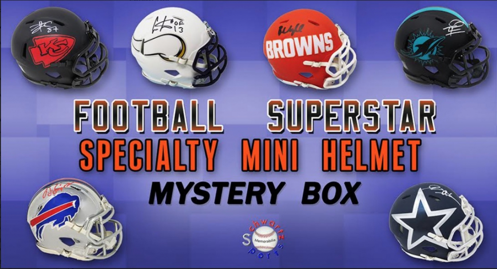 Schwartz Sports Football Superstar Signed SPECIALTY Mini Helmet Mystery Box - Series 8 (Limited to 100) at PristineAuction.com