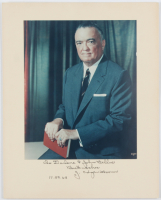 "J. Edgar Hoover Signed 9x11 Custom Matted Print Display Inscribed ""Best Wishes"" & ""11.29.68"" (Beckett COA) at PristineAuction.com"