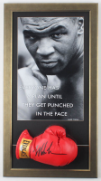 Mike Tyson Signed 17.5x30.5 Custom Framed Boxing Glove Display with Tyson Poster (PSA COA) at PristineAuction.com
