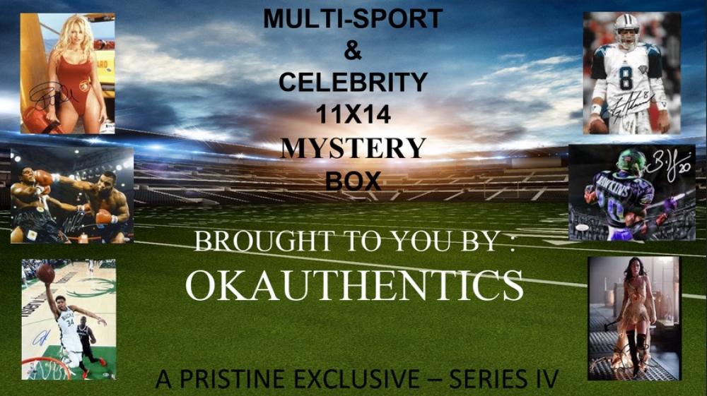 OKAUTHENTICS Multi-Sport & Celebrity 11x14 Mystery Box - Series V at PristineAuction.com
