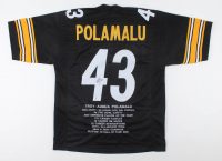 Troy Polamalu Signed Career Highlight Stat Jersey (Beckett COA) at PristineAuction.com