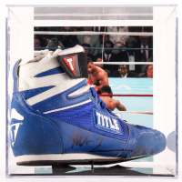 Mike Tyson Signed Title Boxing Shoe with Display Case (PSA COA) at PristineAuction.com