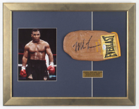Mike Tyson Signed 18x23 Custom Framed Boxing Sparring Glove Display with Tyson Photo (PSA COA) at PristineAuction.com