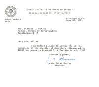 J. Edgar Hoover Signed 1961 FBI Letter (Beckett COA) at PristineAuction.com