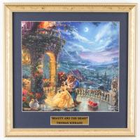 "Thomas Kinkade Walt Disney's ""Beauty and the Beast"" 15.75x15.75 Custom Framed Print Display at PristineAuction.com"