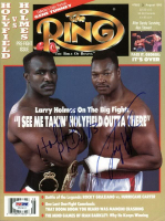 Evander Holyfield & Larry Holmes Signed 1992 The Ring Magazine (PSA COA) at PristineAuction.com