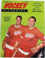 """Gordie Howe & Bill Gatsby Signed Red Wings 16x20 Photo Inscribed """"HOF 1972"""" & """"HOF 1970"""" (PSA COA) at PristineAuction.com"""