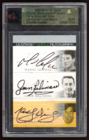 Mario Lemieux / Jean Beliveau / Marcel Dionne 2005-06 ITG Ultimate Memorabilia Triple Autos #17 (ITG Encapsulated) at PristineAuction.com