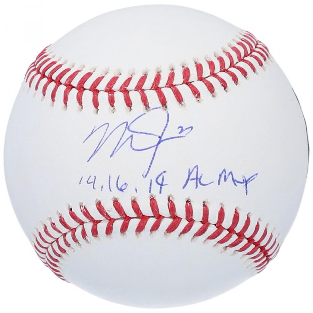 "Mike Trout Signed OML Baseball Inscribed ""14, 16, 19 AL MVP"" (MLB Hologram) at PristineAuction.com"