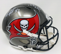 Tom Brady & Rob Gronkowski Signed Buccaneers Full-Size Authentic On-Field Speed Helmet (Fanatics Hologram) at PristineAuction.com