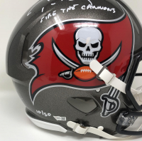 """Tom Brady Signed LE Buccaneers Full-Size Authentic On-Field Speed Helmet Inscribed """"Fire the Cannons"""" (Fanatics Hologram) at PristineAuction.com"""