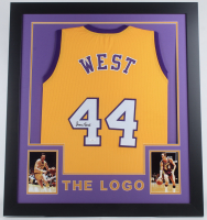 Jerry West Signed 31x35 Custom Framed Jersey (JSA COA) at PristineAuction.com