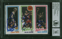 Larry Bird, Julius Erving & Magic Johnson Signed 1980-81 Topps #6 #34 RC /#174 / #139 RC (BGS Encapsulated) at PristineAuction.com