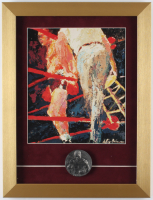 "LeRoy Neiman ""Joe Louis"" 13x17 Custom Framed Print Display with Vintage Solid Brass Joe Louis Award at PristineAuction.com"