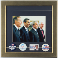 United States Presidents 16.75x16.75 Custom Framed Photo Display with (4) Presidential Campaign Pins at PristineAuction.com