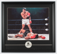 Muhammad Ali 17x18 Custom Framed Textured Art Print Display with 1960s Pin at PristineAuction.com