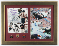 """Walter Payton Signed Bears 17x22 Custom Framed Photo Display with (3) Career Achievement Pins Inscribed """"Sweetness 16,726"""" (PSA LOA) at PristineAuction.com"""